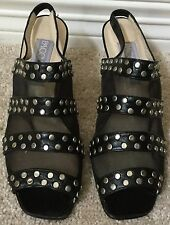 Paco Gil Leather Studded Open Toe Skingbacks Heels Sandals Black 6.5 B Spain