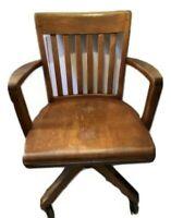 Oak Wood ROLLING SWIVEL OFFICE COURT HOUSE CHAIR LEGS Casters Vintage EUC