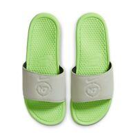 New NIKE Benassi N7 SLIDES Men's Sandals SIZE 11 SPRUCE AURA/ELECTRIC GREEN