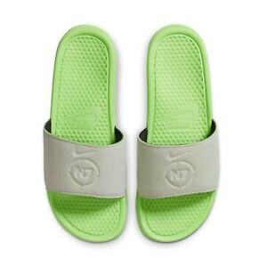 New NIKE Benassi N7 SLIDES Men's Sandals SIZE 13 SPRUCE AURA/ELECTRIC GREEN