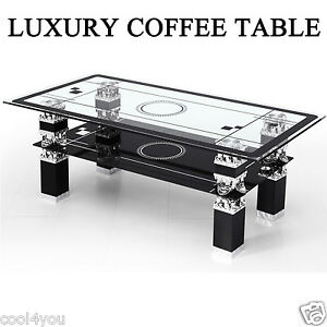 LX Coffee Table Rectangle Tempered Glass Chrome For Living Room With Lower Shelf