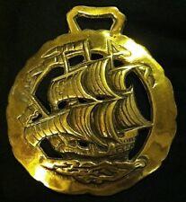 Stunning Large SHIP SAILING SEA Harness Brass (S3) England Nautical Wall Decor