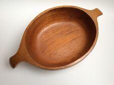 vintage Teak Holz Schale oval mit Griffen Henkeln mid century