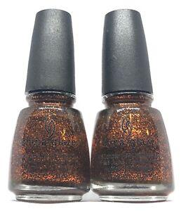 China Glaze Nail Polish Ick-A-Bod-Y 944 Orange Glitter on Jelly Green Base Lacqu