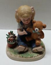 "Vintage 1985 ""Denim Days� Teddy Bear Girl Debbie Figurine #1504 by Homco"