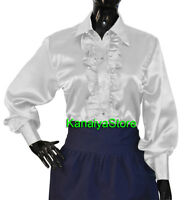 White Satin Vintage Button Down Solid Collar RUFFLE Shirt Long Sleeve Blouse Top