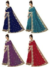 Indian Pakistani Latest Bollywood Women's Designer Embroidery Satin Silk Saree