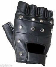 Gants moto mitaines cuir noir STUDS Taille S