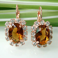 Navachi Brown Square 18K GP Crystal Rhinestone Leverback Earring Earrings BH2139