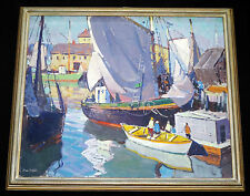 """1950s AMERICAN OIL on CANVAS PAINTING """"HARBOR SCENE"""" by CARL WILLIAM PETERS (Jos"""