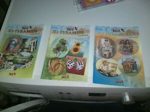 3X CRAFT BOOK FOR NAKE CARDS 21X15 CM NEW PYRAMIDS/SCISSORS NEED (D)