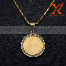 """316L Stainless Steel 18k Plated Gold LIBERTY Charm Pendant Box Chain 3MM 24"""""""