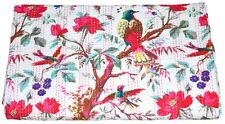 KANTHA QUILT INDIAN COTTON HANDMADE BLANKET BEDSPREAD KING SIZE CRAZY BIRD PRINT