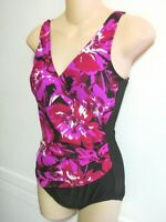 Used Beach Belle One Piece Swimsuit - Wrap Pink Red Black Floral - Women's 10 M