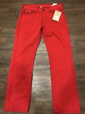 New! True Religion CHL RUBY RED Straight/ Flap  Men's Jeans 38X34