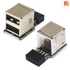 9-Pin Scheda madre Connettore A 2 Porte Dual USB 2.0 Femmina Interno Adattatore