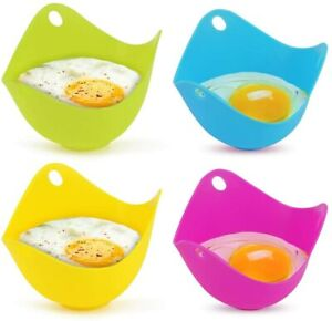 4PCS Silicone Egg Poacher Non-Stick Poached Eggs Cups Microwave Baking Cup Tools