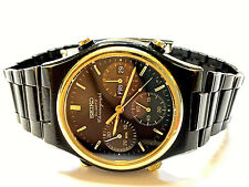 Seiko Sport Chronograph 7A38-7100 PVD & Gold 36mm 1/10s sehr selten Day Date