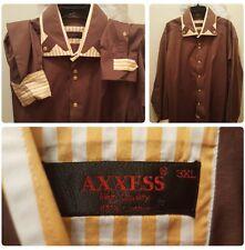 AXXESS Button Shirt Size 3XL Spread High Collar Contrast Flip Cuff Cotton Unique