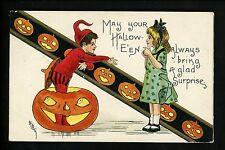 Halloween Postcard Leubrie & Elkus 2262-10 Children JOL Costume Elf Imp Fantasy