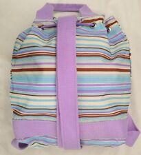 "Blue Purple Stripe Sharif 10X11"" Adjustable Strap Backpack Purse"