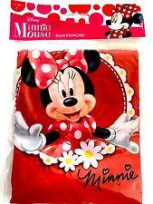 Disney Youth Red Minnie Mouse Flowers Rain Poncho Raincoat Keep Dry