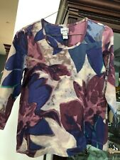 Chico's 3/4 Sleeve Multicolor Cotton T-shirt - Size 1(8/10) - NWT