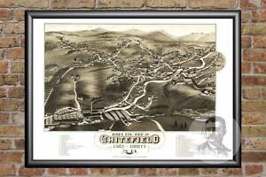 Vintage Whitefield, NH Map 1883 - Historic New Hampshire Art - Old Industrial