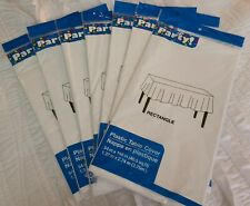 """Bundle of 7 White Plastic Table Covers 54"""" x 108"""" Rectangular Tablecloth. New"""
