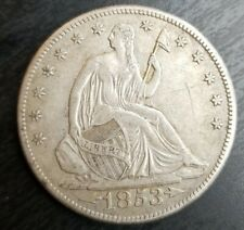 1853 O Liberty Seated Half Dollar Looks AU About Uncirculated Details Scratched
