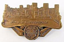 circa 1920 PITTSBURGH SKYLINE figural medal badge pinback +