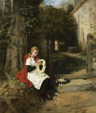 "oil painting""A woman sitting in a churchyard making a wreath of flowers""N5450"