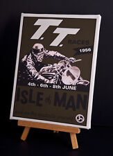TT ISLE OF MAN 1956 RACE (b) STRETCHED AND FRAMED CANVAS
