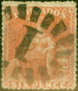 Barbados 1870 6d Dull Orange-Vermilion SG32 Fine Used