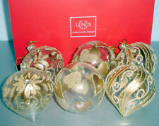 Lenox Sparkling Painted Gold Glass 6 Piece Ornament Ball Set New in Box