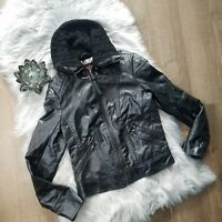 Ci Sono Women's Faux Leather Black Jacket Coat Outerwear Lined Size Small