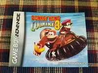 Donkey Kong Country 3 - Authentic - Nintendo Game Boy Advance - GBA Manual Only!