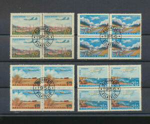 Romania #C45 - C48 Socked On Nose1956 Airmail Airplane Stamps BLOCKS of FOUR cTO
