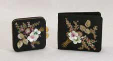 Vintage Embroidered Beaded Flowers Wallet & Compact Set France