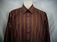 John Forsyth Brown Stripe Long Sleeve Shirt Mens sz L