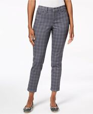CHARTER CLUB Size 8 Petite GREY CHECKED Skinny ANKLE Tummy Slimming TROUSERS