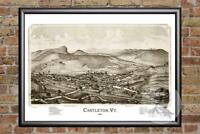 Vintage Castleton, VT Map 1886 - Historic Vermont Art - Old Victorian Industrial
