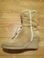 Michael Kors Tan Sherpa Lined Wedge Mid Calf Boots Size 10 Lace Up Warm Boho
