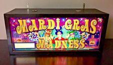 WMS Mardi Gras Madness Slot Machine Glass Slant Top Light Box Working Custom VTG