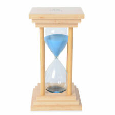 Handcrafted Wooden Stand Blue Sand 15 Minute Square Timer Hourglass Gift for Dad