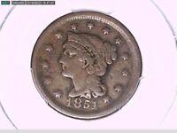 1851 Large Cent PCGS Genuine Damage - F Details 29875956 Video