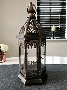 Tall Bird Cage Style Candle Lantern With Handle And Hinged Door