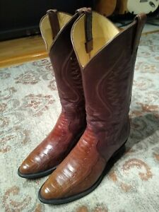 PANHANDLE SLIM BROWN OSTRICH LEG & LEATHER ROUND TOE COWBOY BOOTS MENS SIZE 9.5D