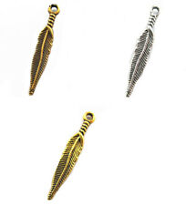 100pcs Retro Antique Metal Alloy Feather Charm Pendants 28mm for Jewelry Making