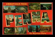 DR JIM STAMPS US POSTCARD GREETINGS FROM PENNSYLVANIA LARGE LETTERS
